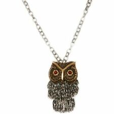LUCKY BRAND Gold Tone Carneilian Large Shaky Owl Long Pendant Necklace NWT $55