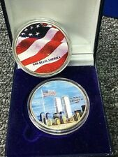 2001 US Silver Eagle COLORIZED 1oz 999 WTC Twin Towers 9/11 FLAG Reverse