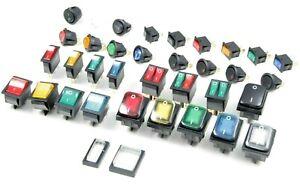 Wippschalter Kippschalter Minischalter Snap-In LED Sets AC 230V DC 12V Kappen