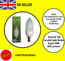 PACK OF 10 X 9 WATT SES LOW ENERGY CANDLE BULB  A RATED 10000 HOUR A RATED NEW