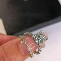 3.45 Ct Radiant Cut Diamond Bridal Engagement Ring In Solid 14k White Gold Over