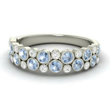 Diamond Ring Size 7.5 6 5 4.5 0.91 Carat Aquamarine 14K White Gold Eternity Band