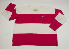 HOLLISTER WOMENS SIZE M MEDIUM SWEATER TOP PINK WHITE STRIPED STRIPES