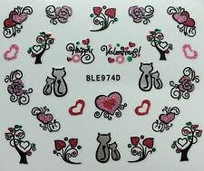 Nail Art 3D Glitter Decal Stickers Roses Cats Hearts Valentine's Day BLE974D