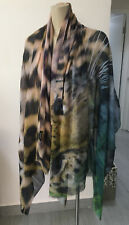 TWO BIRDS Big Cat Leopard Print Silk Cotton Huge Sarong Scarf