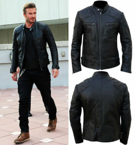 Mens David Beckham Leather Jacket Biker Motorcycle Style Leather Clearance Sale!