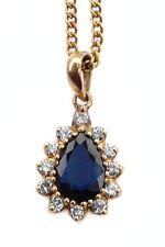 Diamonds Gold Pendant with Chain Vintage 50's Natural Blue Sapphire