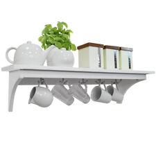 MEDFORD - 90cm Wall Storage Shelf with 5 Hooks - White ST0905