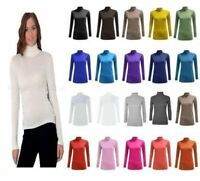 LADIES LONG SLEEVE POLO NECK ROLL NECK TOP WOMENS TURTLE NECK PLAIN JUMPER 8-28