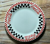 Vintage Gibson 1996 Coca Cola Dinner Plate White with Checkered Border 10.5""