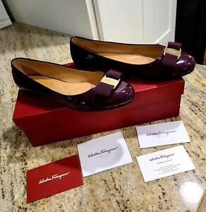 Salvatore Ferragamo Varina Burgundy Patent Leather Flats With Box. Size 6.5 C