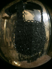 ANTIQUE VICTORIAN  BLACK SILK ORNATE BEADED DETAILED HAND BAG/PURSE