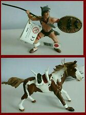 Papo Wild West Western Mounted Indian Wolf Chief Warrior & Horse Spear Shield NW