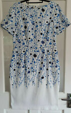 Boden 16r Shift Dress White Blue Floral Short Sleeve Midi Worn Once Occasion