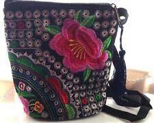 Black Canvas Cross Body Pink Flower Multi Coloured Silk Embroidered Handbag