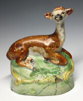 Early Antique Staffordshire Recumbent Fawn Deer England Pottery Figurine