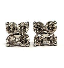 14k white gold .77ct SI2 Brown 4 stone diamond stud earrings 1.2g