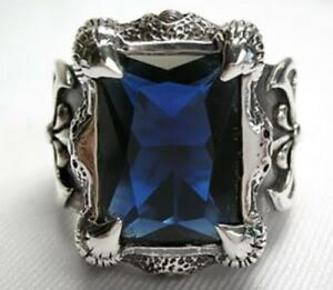 BLUE DRAGON CLAW AXE 925 STERLING SILVER MEN'S RING SAPPHIRE ROCK GOTHIC Sz 14