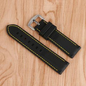 20-26mm Silicone Watch Strap Band Blue/Yellow/Orange Line Stitching Waterproof
