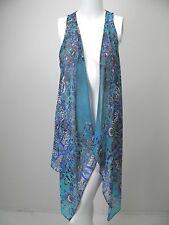 KAREN KANE Turquoise/Cobalt/Black/White Print Chiffon Long Open Front Vest sz S