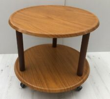 Vintage Table Melamine Top Round Coffee/ Ocational Two Teir Table .On casters.