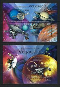 Burundi 2012 Sc#1262,#1287  Voyager 2-35th Anniversary  MNH MS/SS Set $20.80