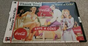 1990's COCA COLA Tin Sign Vintage Style THANK YOU! HAVE A COKE JV REED Litho