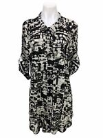Style & Co Women's Size XL Button Down Roll Tab Sleeve Print Blouse Tunic Top
