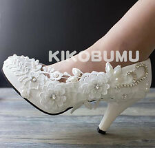 Ivory White Wedding shoes Lace Ladies Prom Bridal Bridesmaid Flat High Low Heels