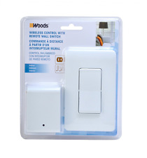 Woods 59773 Wireless Wall Switch Remote For Indoor Light Control, White