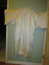 Vintage 1950s or 1960s White Damask Silk Brocade Kimono Japanese Robe