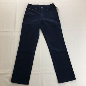Polo Ralph Lauren Boys Kids Navy Blue Corduroy Pants Sz 18 PRL Patch Logo
