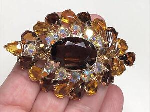 Vintage JULIANA Amber Topaz AB Rhinestone Open Back Brooch Pin