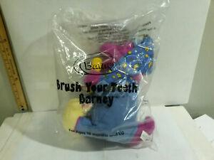 Barney Purple Dinosaur brush Teeth plush 2002 Fisher Price Avon still bagged NOS