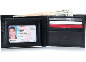 Alpine Swiss Mens Wallet Genuine Leather Removable ID Card Case Bifold Passcase