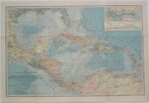 1913 Map CENTRAL AMERICA CARIBBEAN Panama Canal Steamship Route Coaling Stations