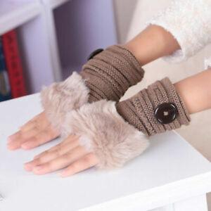 Women Faux Rabbit Fur Hand Wrist Warmer Half Finger Gloves Fingerless Winter