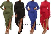 Plus Hi Lo Mini Maxi Dress Mock Neck Draped Asymmetric Slit Folded Ruched Skirt