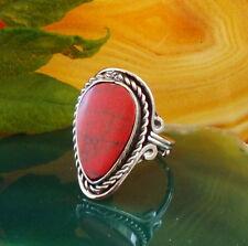 Anello alpaca argento Howlith rosso pietre etnico INDIANA INCA MAYA STILE 1