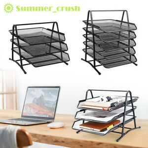 3/5 Tier Office Filing Trays Holder A4 Document Letter Paper Wire Mesh Storage