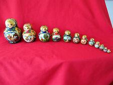 "Matryoshka Nesting Dolls~BLUE & GOLD Fairy Tale~7"" tall~12 Pieces"