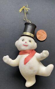 Vintage Retro Christmas Flocked Snowman For Repair