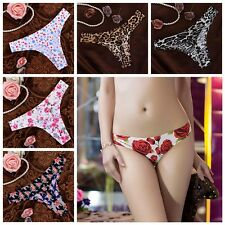 Women Sexy Thongs And G Strings Ice Silk Floral Print Lingerie G String Panty