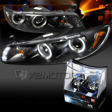 97-03 Pontiac Grand Prix Black LED Halo Projector Headlights+H3 Halogen Bulbs