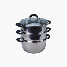 More details for 3tier 24cm s/s steel steamer multi veg cooker pot pan w glass lid