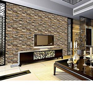 1 Roll 3D Brick Stone Self Adhesive Wall Stickers Panel Wallpaper Room Decor GU❤
