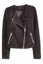 BNWOT H&M Black Suedette Suede feel Biker Jacket Size 10 NEW