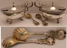 FANCY ITALIAN  SILVER COVERED SALTS LION LEGS  +  SPOONS  HALLMARKED PAIR