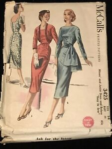 Vintage 1954 McCall's Dress Pattern 3425 Complete Used 32 B