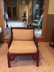 Vintage Designer Crimson Wooden ARMCHAIR Cushioned Seat Beacon Hill, NYC Unique